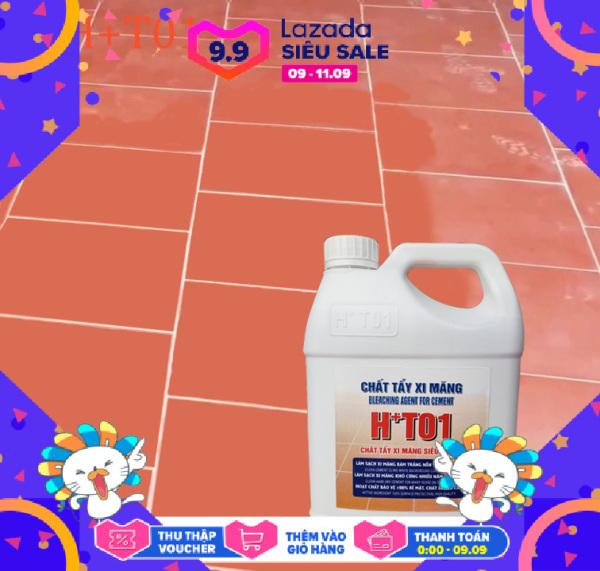 Tẩy xi măng HT01 can 5lít,Chất tẩy xi măng CỰC MẠNH, nước tẩy xi măng trên nền gạch đá,tẩy trắng ron gạch(mạch gạch)+Tặng 1 miếng cọ rửa đa năng,nước tẩy xi măng,tẩy xi măng