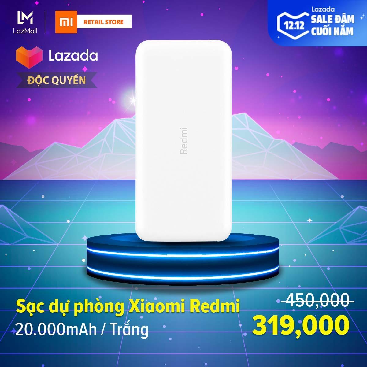 [ĐỘC QUYỀN LAZADA] Sạc dự phòng Xiaomi Redmi 20.000mAh - Sạc nhanh Max 18W - Input Micro USB & Type-C / Output USB-A x2 - Hàng chính hãng