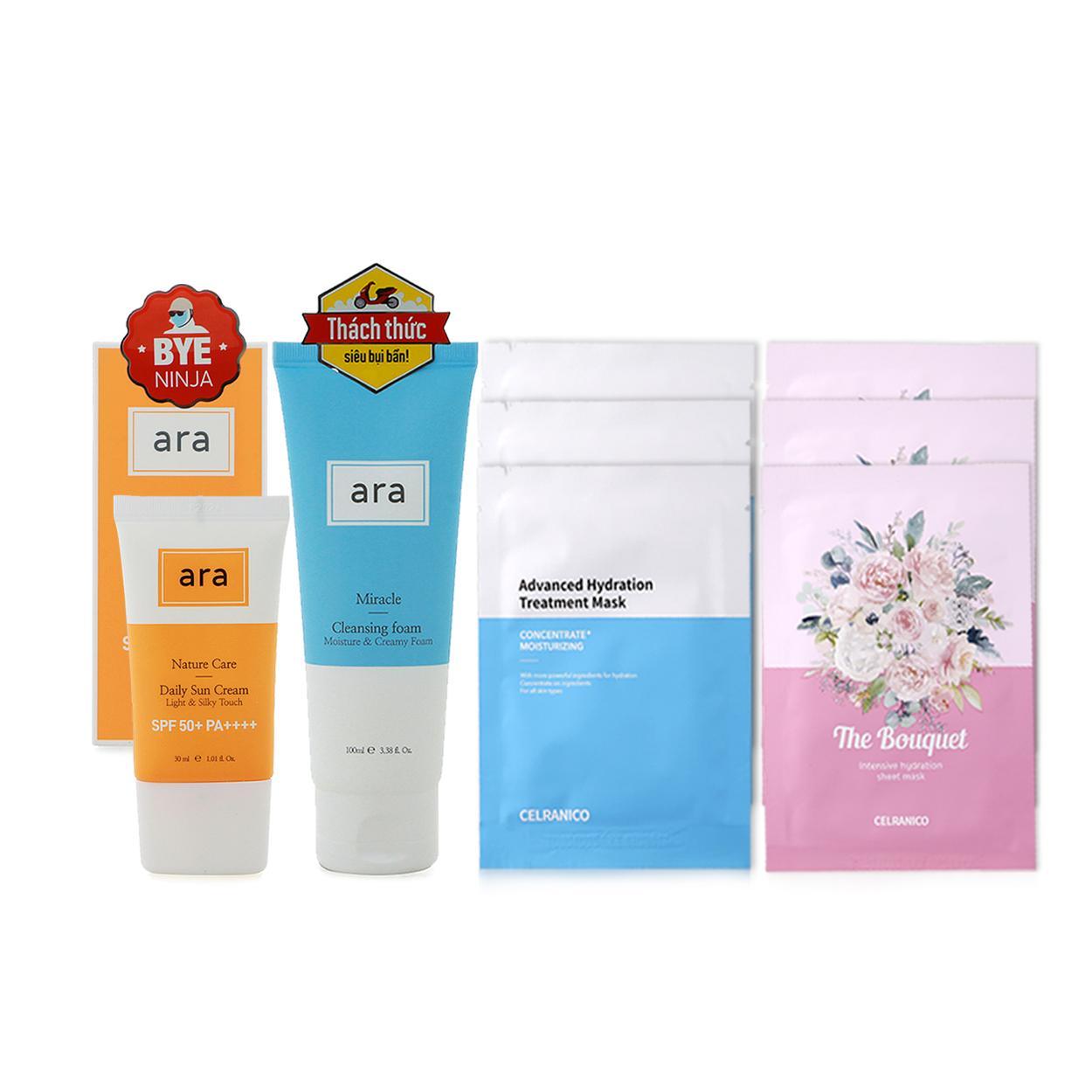 Combo Sữa rửa mặt ARA Miracle (100ml) + Kem chống nắng ARA Nature Care (30ml) + 6 mặt nạ cấp nước CELRANICO (23ml * 6) tốt nhất
