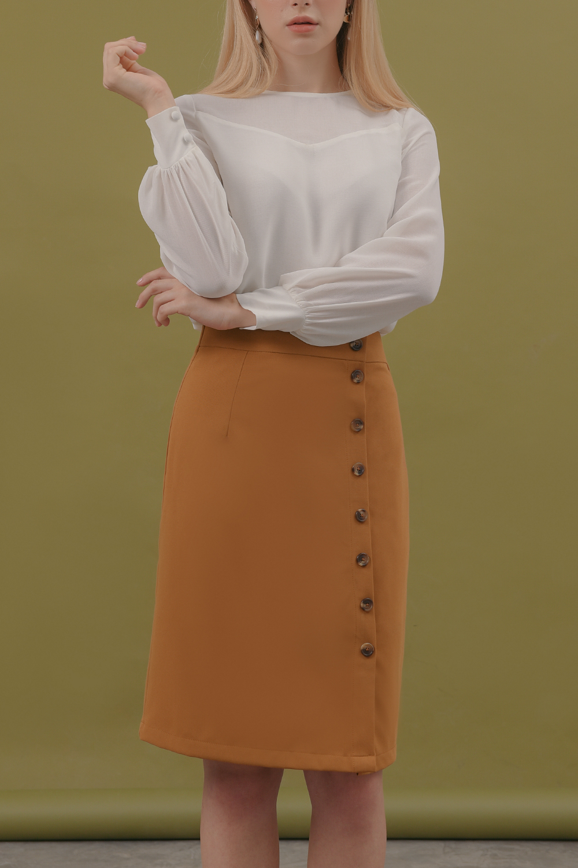 Váy Nữ Bút Chì đính Nút Bố Thun Lilya Giảm Cực Hot