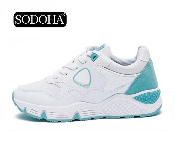 Giày Sneaker Thể Thao Nữ Mẫu Mới Siêu Hot SODOHA SNN35529WS Trắng Phối Xanh
