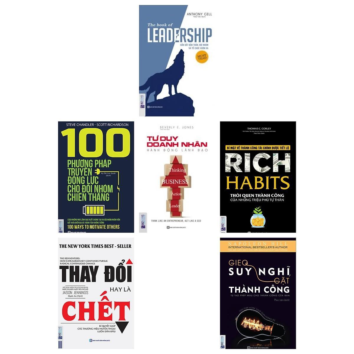 Mua Combo 6 cuốn sách lãnh đạo:Leadership+Thay đổi hay là chết+100 phương pháp truyền động lực+Sức mạnh của động lực+Đừng bao giờ từ bỏ giấc mơ(tặng bookmark kim loại mạ vàng)
