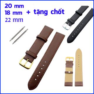 Dây da đồng hồ nam cao cấp cho đồng hồ đeo tay, đồng hồ thời trang tặng kèm khóa đồng hồ + cặp chốt dây thumbnail