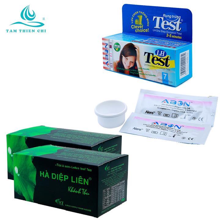 Que thử rụng trứng LH ABON hộp 7 test và Trà lá sen Hà Diệp Liên túi lọc hộp 30 gói x 2 hộp chính hãng