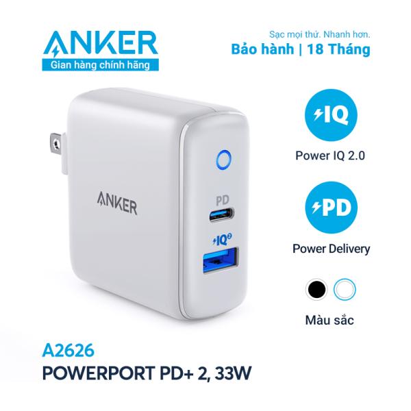 Sạc ANKER PowerPort PD+ 2 với 1 PD và 1 PIQ 2.0 33W - A2626
