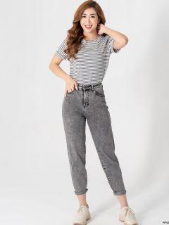 YODY quần jean baggy nữ màu đen khói QJN3126 thumbnail