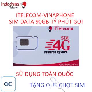 Sim 4G 90GB itelecom gọi vinaphone miễn phí tặng kèm que lấy sim thumbnail