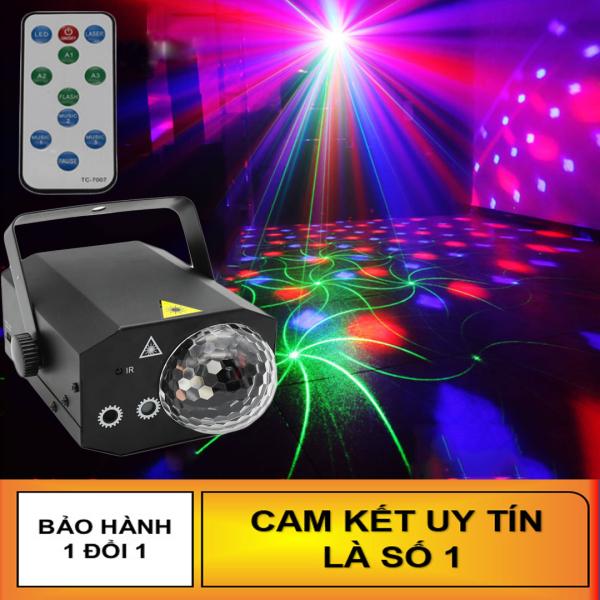 Đèn laser ánh sáng laze cảm biến âm thanh - Kết hợp Đèn LED xoay 7 màu dùng trang trí vũ trường, phòng karaoke