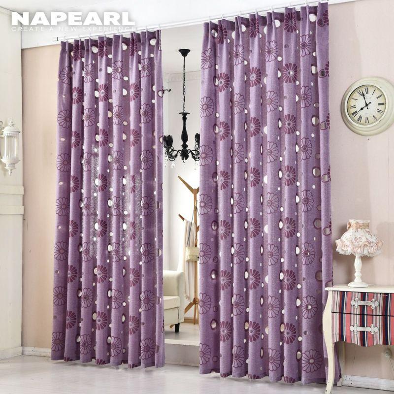 Vải Tuyn Dệt Hoa Hiện Đại Cửa Sổ Phòng Ngủ Napearl, Rèm Màu Tím Mỏng 100X130 Ngắn