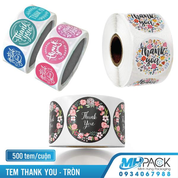 Mua Tem thank you 25mm cuộn sticker thank you tròn TN5001 trắng 500 tem/cuộn