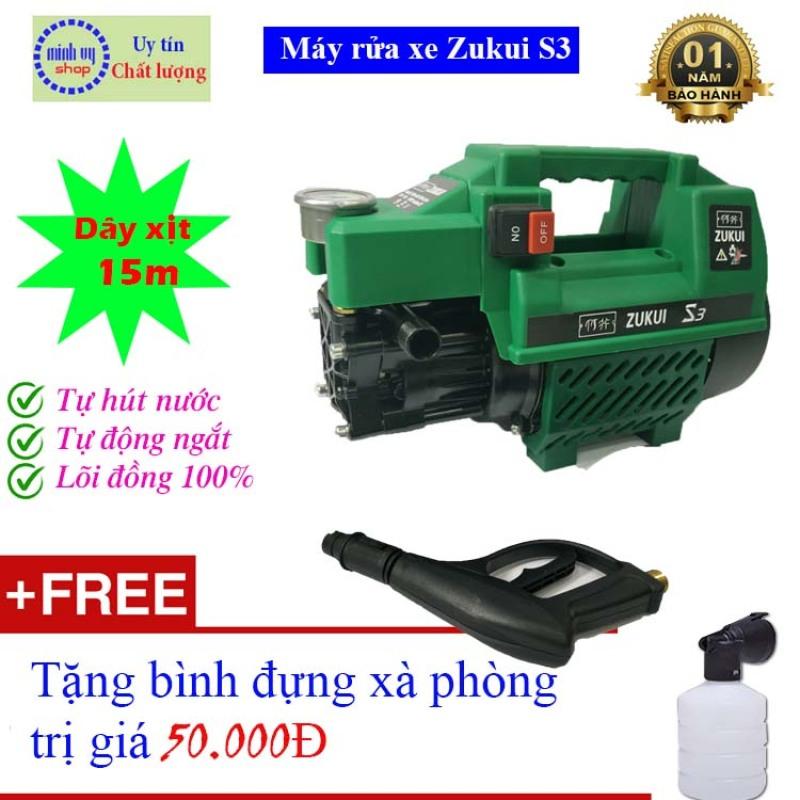 [DÂY 15M]  Máy rửa xe mini gia đình Zukui S3 - 2000W- - tặng bình xà bông - BH 12 tháng