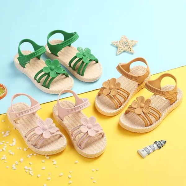 Giá bán Giày Sandal Quai Hoa Đế Giả Cói Cho Bé Gái Đi Mưa, Đi Học (Màu ngẫu nhiên) - GE001