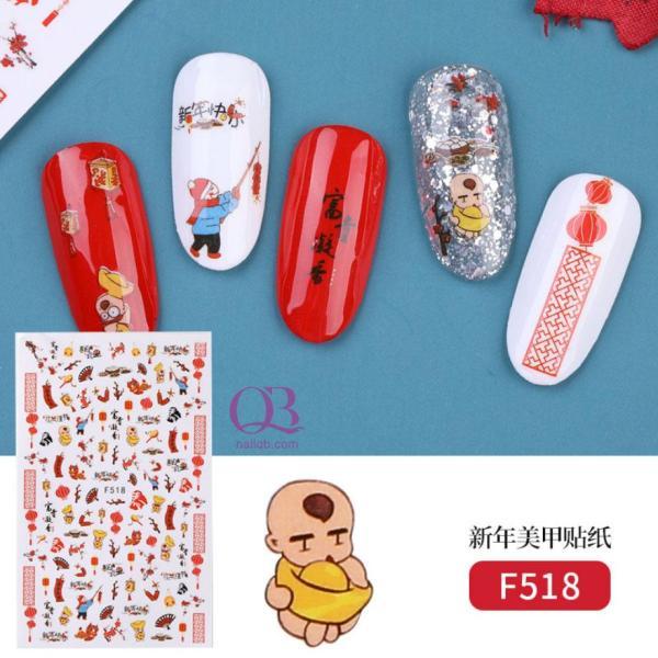 Nail sticker dán móng Tết - chúc mừng năm mới, nail sticker trang trí móng Tết giá rẻ