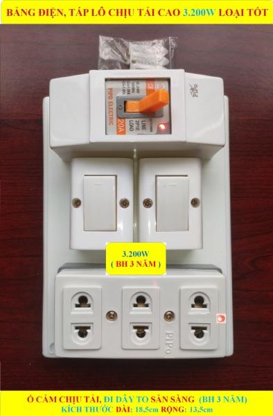 Bảng điện, Táp lô 3.200W LOẠI TỐT + (BH 3 NĂM) + CB atomat 20A chống quá tải + 2 Công tắc + Ổ cắm lò xo bung chống giãn + Đi dây TO sẵn sàng + Bộ ốc vít lắp đặt (bộ 1 sản phẩm)