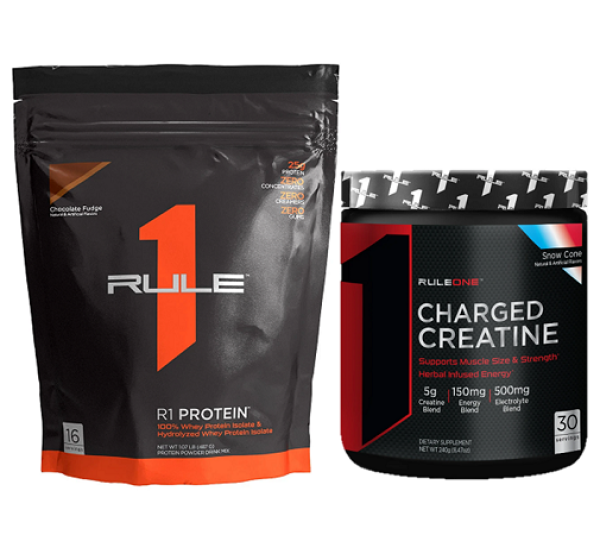 Combo tăng cân & sức mạnh Rule 1 Protein 1lb (16 servings) & Rule 1 Charged Creatine 30 servings cao cấp