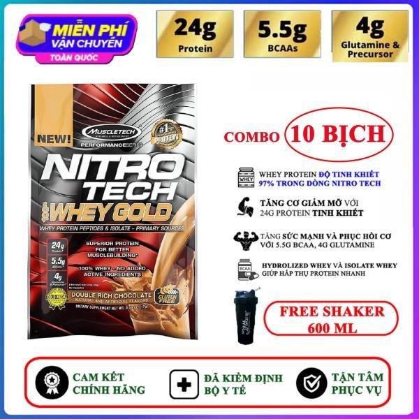 [TẶNG BÌNH LẮC] Combo 10 Gói Sample Sữa tăng cơ giảm mỡ Nitro Whey Gold của Muscle Tech hương Chocolate (33.3g/gói) hỗ trợ tăng sức cơ, tăng sức bền sức mạnh, đốt mỡ giảm cân, giảm mỡ bụng mạnh mẽ cho người tập gym và chơi thể thao -thuc