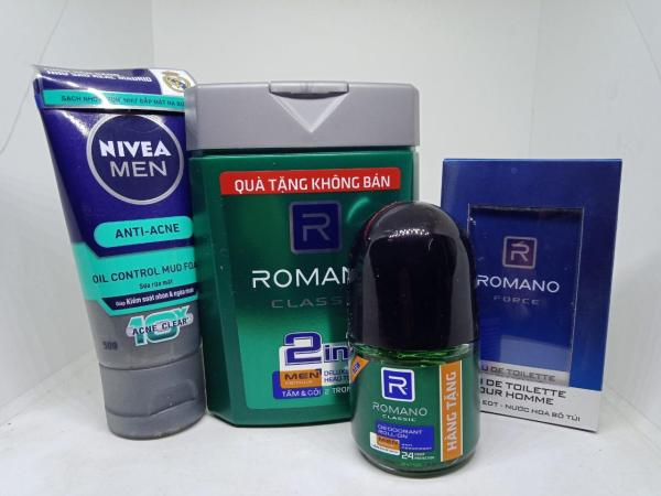 Trọn bộ 4 món dành cho phái mạnh : 1 dầu tắm gội Romano 2in1 100g, 1 lăn khử mùi Romano 15ml, 1 srm Nivea men 50g, 1 Nước hoa bỏ túi 250 lần xịt Romano 18ml giá rẻ