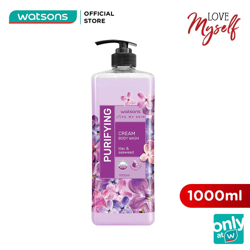 Kem Tắm Watsons Love My Skin Purifying Lilac & Seaweed Cream Body Wash Thanh Lọc Da 1000ml
