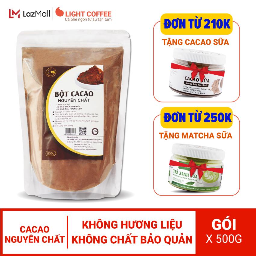 Bột cacao cao cấp Light Coffee , 100% nguyên chất, không pha trộn tạp chất , dễ tan, đậm đà - Gói 500g