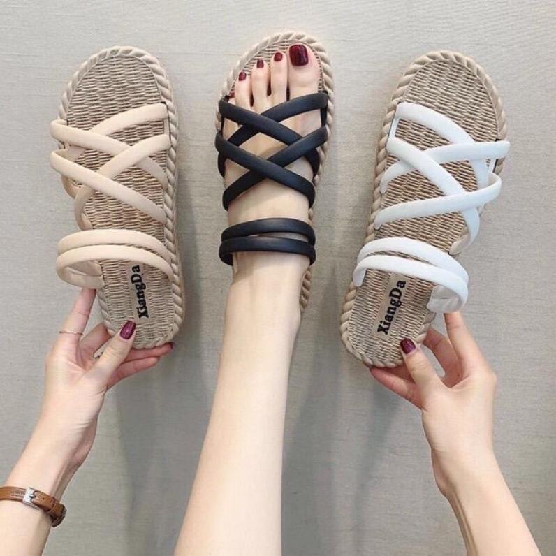 Dép sandal nữ giày sandal nữ nhựa dẻo nhiều quai-Sandal học sinh đi mưa thoải mái giá rẻ