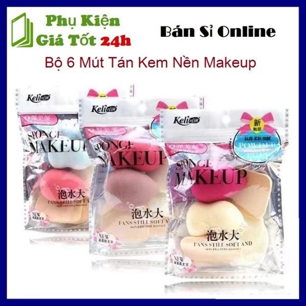 [HCM]⚡ Bộ 6 Mút Tán Kem Nền Makeup -  Sét 6 bông mút trang điểm mút dặm kem nền siêu tiện lợi Keli ⚡