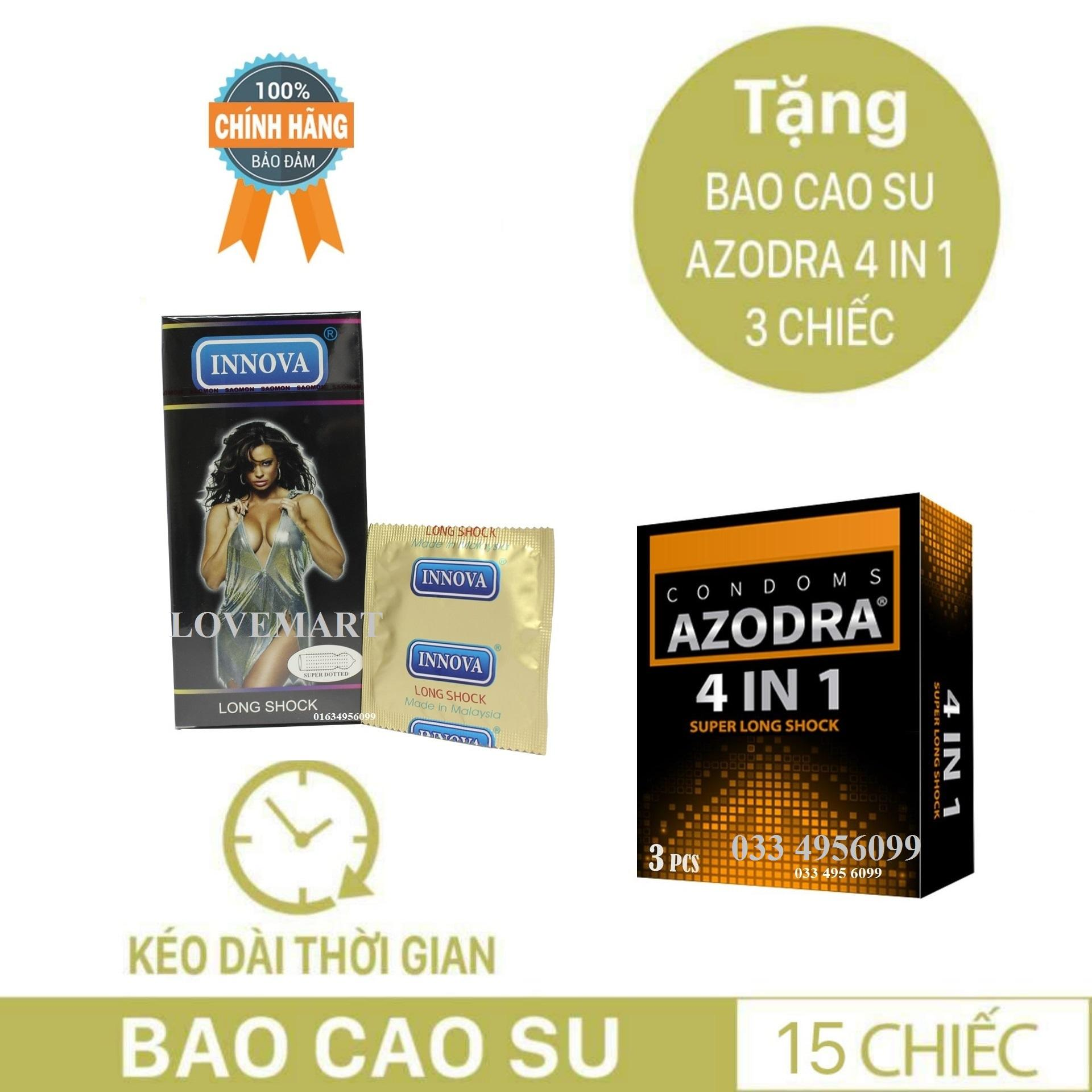 Combo 1 hộp Bao cao su siêu gân gai kéo dài thời gian INNOVA tặng 1 hộp BCS AZODRA