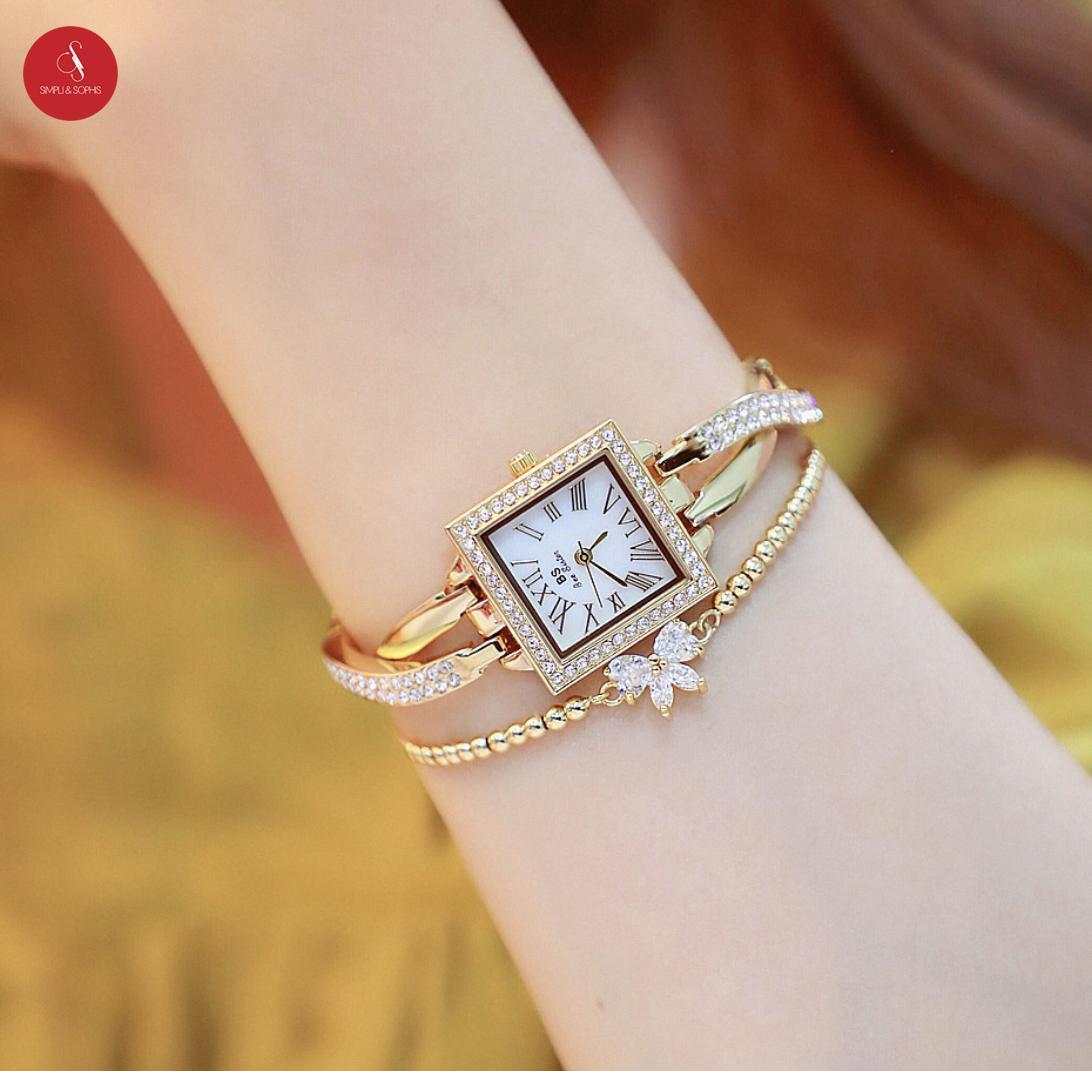 Đồng hồ nữ Bee sister 1528 cao cấp 26mm (Vàng/ Bạc ) + Tặng hộp đựng đồng hồ thời trang & Pin Nhật Bản