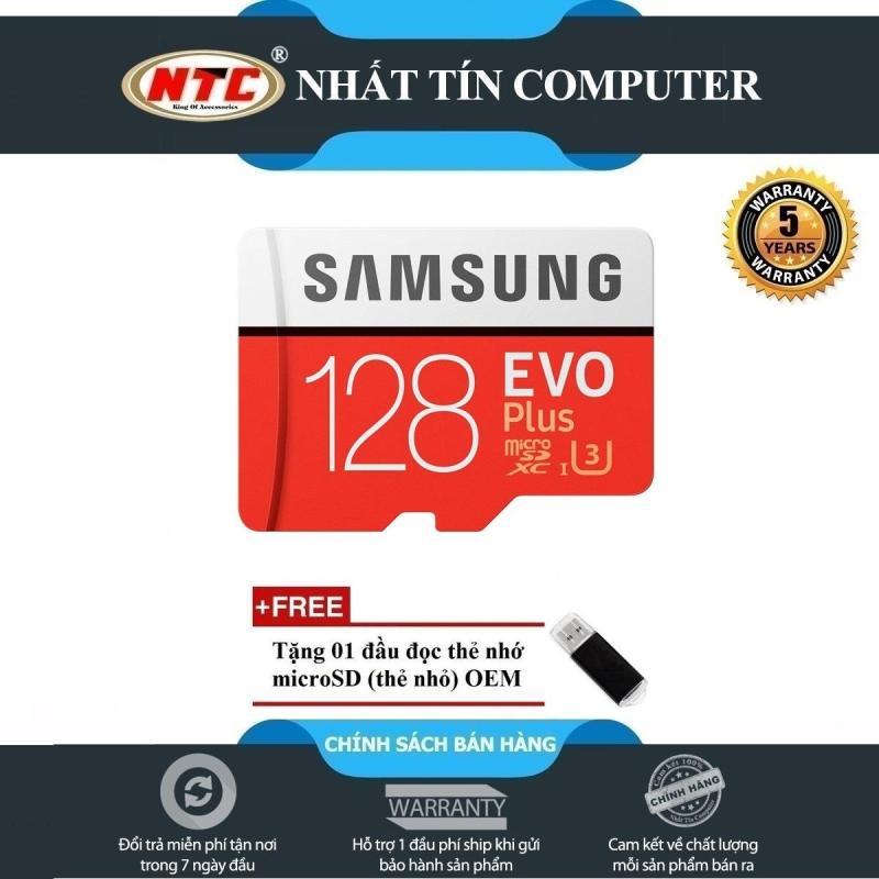 Thẻ nhớ MicroSDXC Samsung Evo Plus 128GB 100MB/s U3 4K (Đỏ) + Tặng đầu đọc thẻ nhớ MicroSD
