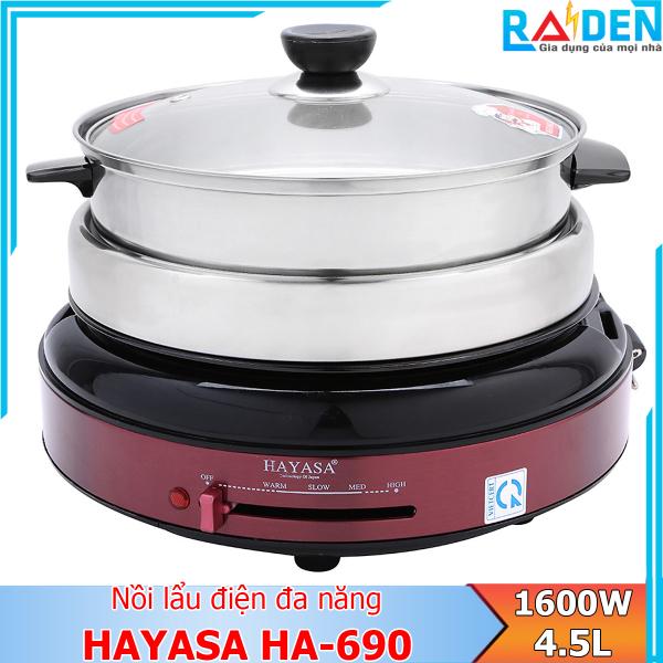 Nồi lẩu điện đa năng 4.5L Hayasa HA-690 với các chức năng nấu lẩu, canh, kho, hấp, nướng, chiên xào (Màu ngẫu nhiên)
