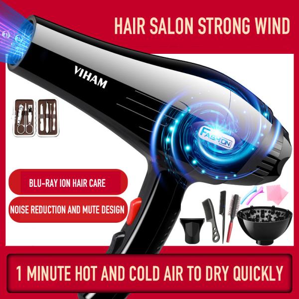VLO0323 Máy sấy tóc ion âm tia xanh công suất cao cho gia đình, tiệm làm tóc, máy sấy tóc khí nóng lạnh cao cấp