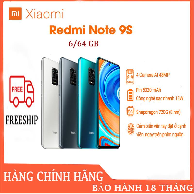 Điện thoại Xiaomi Redmi Note 9S 6GB/64G - FULL TIẾNG VIỆT,Màn hình 6.67 Pin siêu khủng 5020mAh sạc nhanh Quay phim 4K