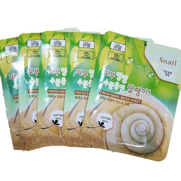 [Rẻ Vô Địch] Combo 10 Mặt nạ dưỡng ẩm dưỡng trắng da chiết xuất dịch nhầy ốc sên 3W Clinic Hàn Quốc