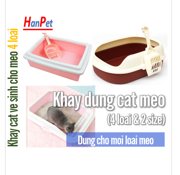 HCM  - Khay vệ sinh mèo (5 loại) Khay đựng cát vệ sinh cho mèo có gờ chống bắn cát ra ngoài + tặng xẻng xúc cát vệ sinh mèo / Nhà vệ sinh mèo / hộp đựng cát mèo