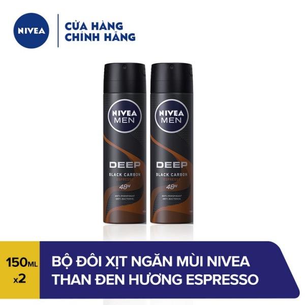 Bộ Đôi Xịt ngăn mùi Nivea Than Đen Hương Espresso 85367 (150MLx2) cao cấp
