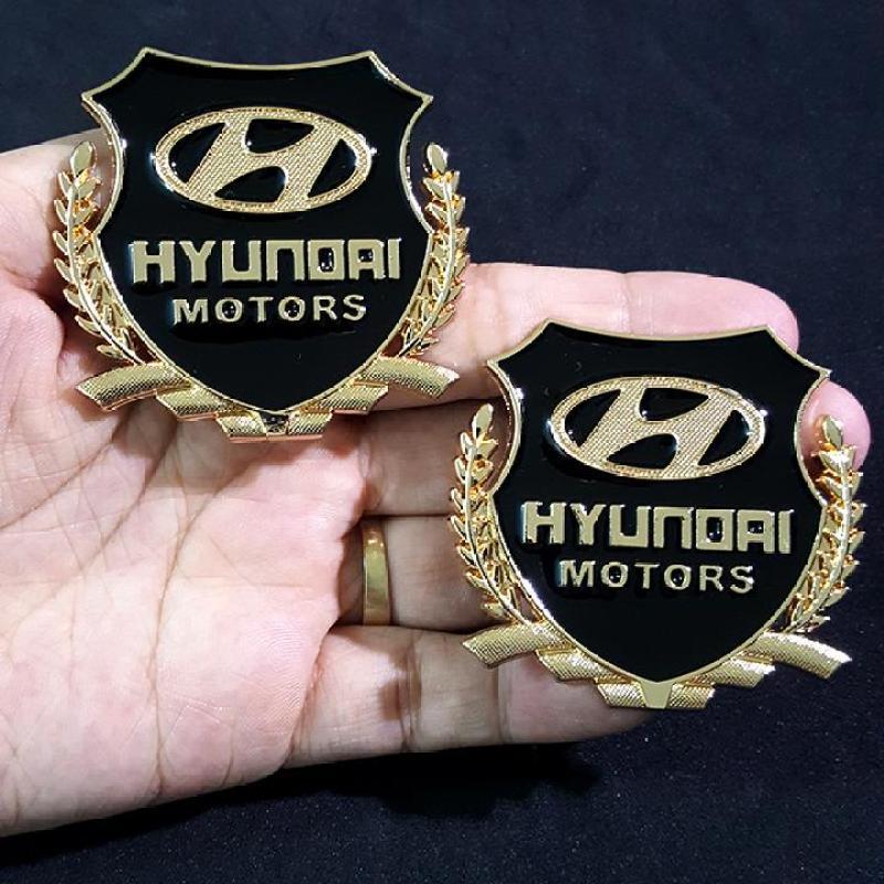 Bộ 2 miếng dán logo kim loại chữ HYUNDAI bông lúa