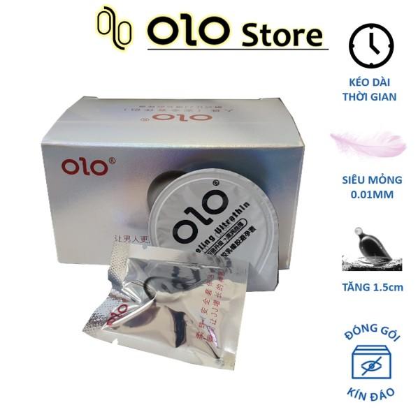 Bao cao su nam OLO 0.01 trắng siêu mỏng, nhiều gel bôi trơn, tăng kích thước 1.5cm - Hộp 05 bao + 05 bi silicon