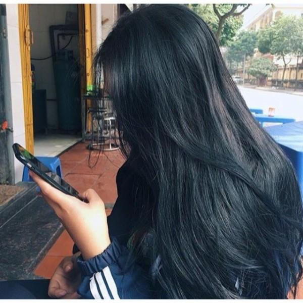 Nhuộm tóc màu xanh dương đen kl2.8 + oxy cho học sinh k cần tẩy giá rẻ