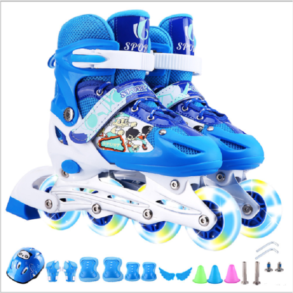 Mua Giày trượt patin trẻ em 4 bánh phát sáng + tặng kèm đồ bảo hộ Mũ, đệm tay, chân - giày trượt thể thao đủ size cho bé và người lớn từ S-M (size số 26 - 41) - GIÀY TRƯỢT PATIN