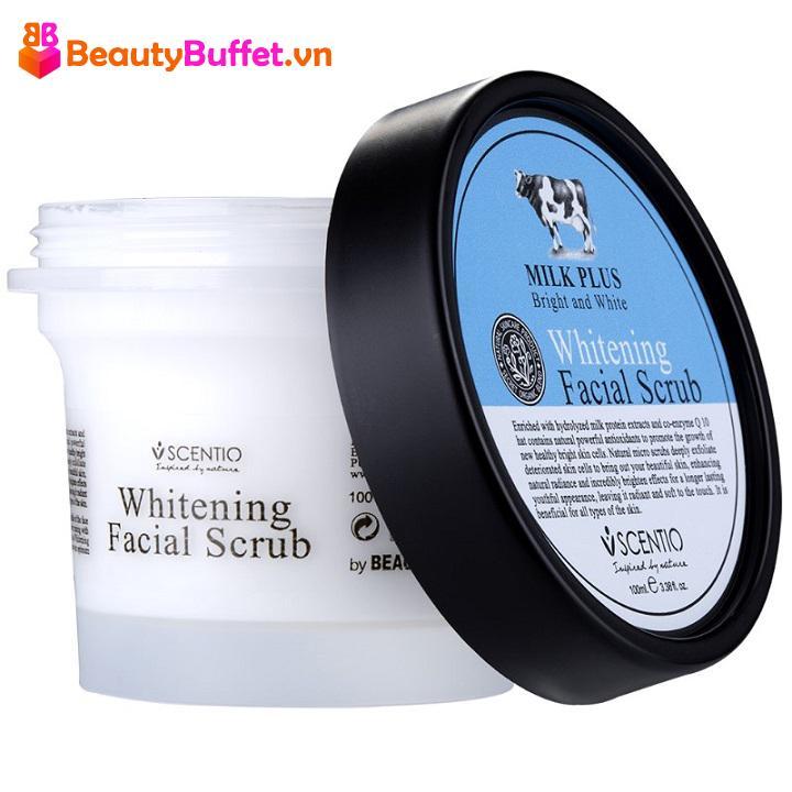 Tẩy tế bào chết cho da mặt - Scentio Milk Plus Whitening Q10 Facial Scrub 100ml chính hãng