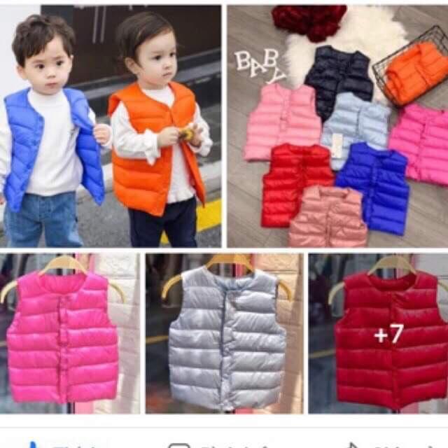 áo phao gile mỏng nhẹ ấm cho bé trai bé gái 8-22kg