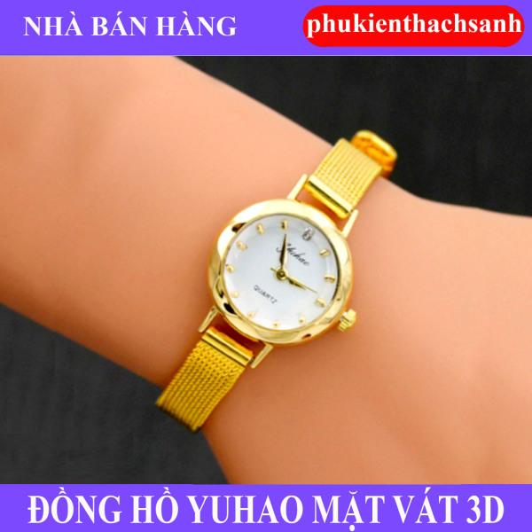 Đồng hồ nữ YUHAO mặt vát 3D dây thép lụa xinh xắn ( vàng)