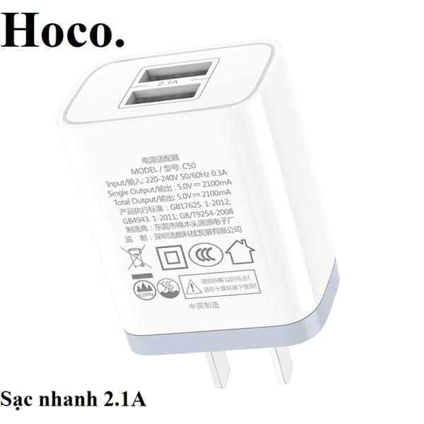 Củ cáp sạc nhanh 2 cổng kép HOCO  max 2.1 A với Lightning / Micro-USB / Type-C - Chính hãng - Bảo vệ dòng điện dùng cho tất cả các loại điện thoại