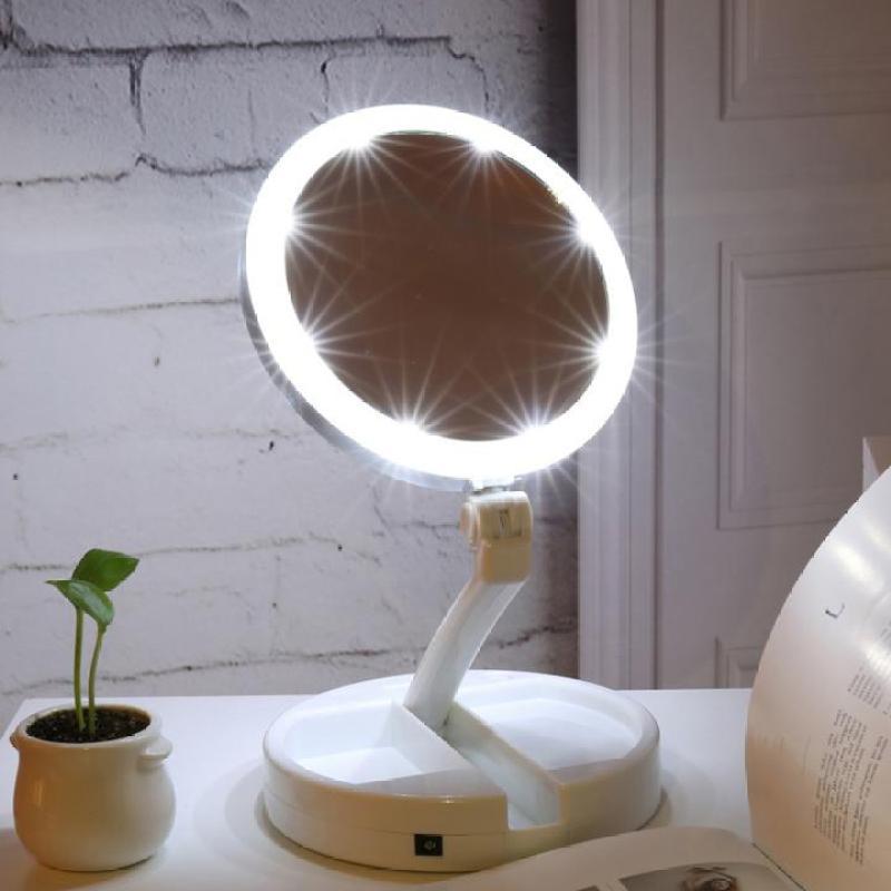 Gương trang điểm để bàn gấp gọn có đèn LED dễ dàng mang theo bên mình giá rẻ