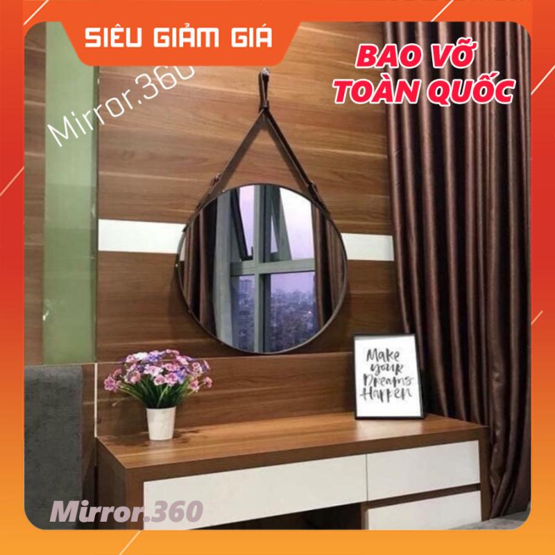 (Size 40cm) Gương Tròn Treo Tường Viền Da Simili (Màu Nâu Sậm)