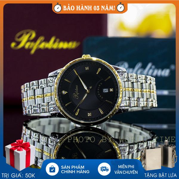 Nơi bán Đồng hồ pin, đồng hồ nam dây thép Pafolina 5028M full box, kính sapphire chống nước chống xước, bảo hành 3 năm