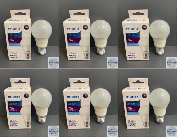 Bộ 6 Bóng đèn LED Bulb 7w E27 Philips HV 1PF/20 GMGC  (Trắng/Vàng)