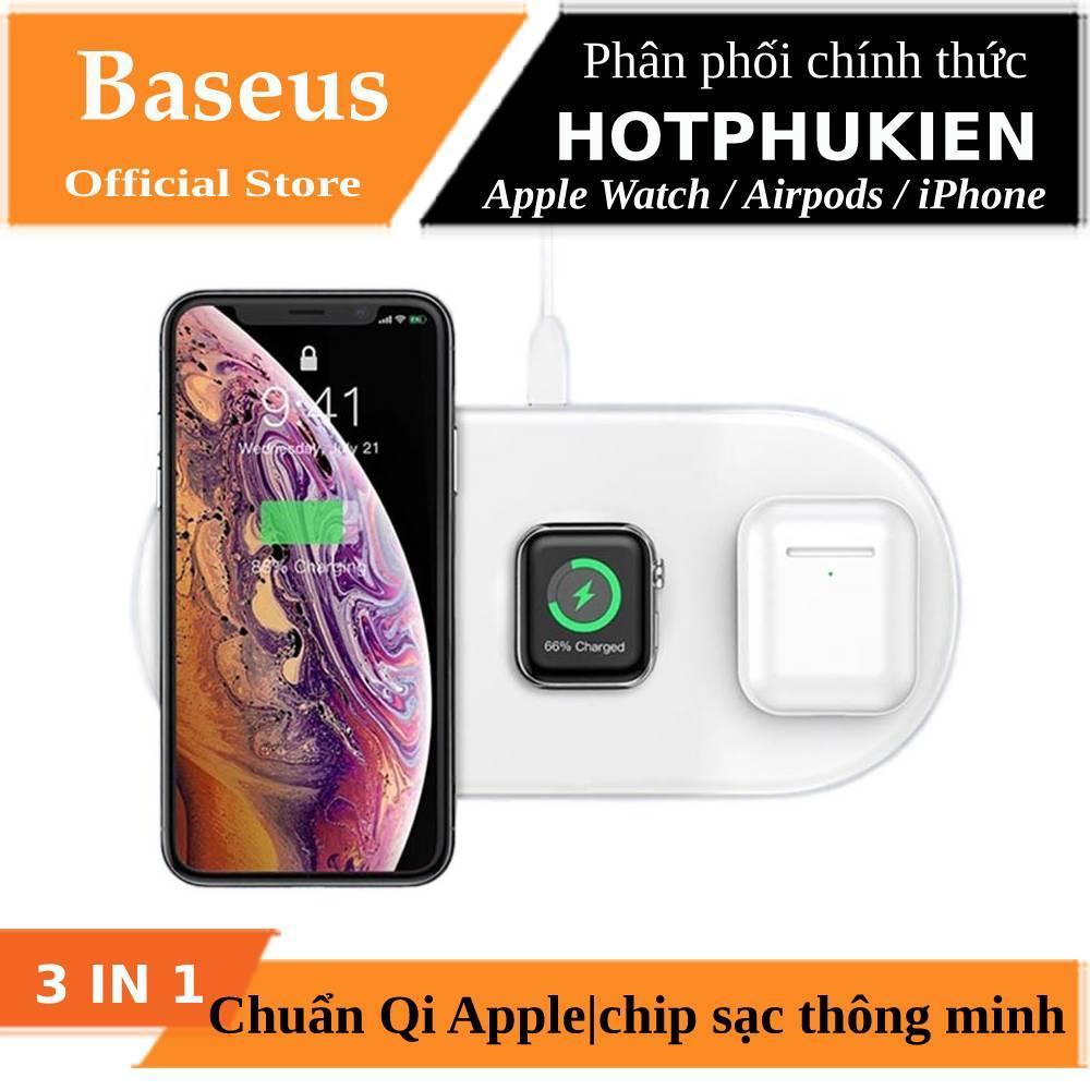 Đế sạc nhanh không dây 3 in 1 hỗ trợ sạc cho Apple Airpods / Appe Watch / Smartphone hiệu Baseus Dual Smart Wireless Charging (Công suất 18W, Wireless Quick charge, chuẩn Qi Apple)(Bảo hành 06 tháng 1 đổi 1) - Phân phối bởi Hotpukien