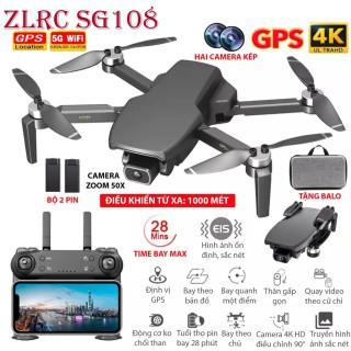 TẶNG TÚI ĐỰNG - Flycam ZLRC SG108 4K HD, Hai camera kép 4K HD Zoom 50X, điều khiển xa 1000M bay 28 phút, Định vị GPS - WIFI 5G Cảm biến bụng ổn định chuyến bay, truyền hình ảnh video trực tiếp về điện thoại. thumbnail