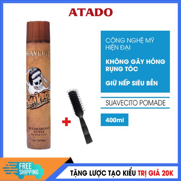 [Có Video Review] Keo vuốt tóc - Gôm xịt tóc nam Suavecito Pomade 400ml ATADO  - Gôm xịt tóc công nghệ Mỹ, giữ nếp 8h, đem lại mái tóc bồng bềnh chắc khỏe