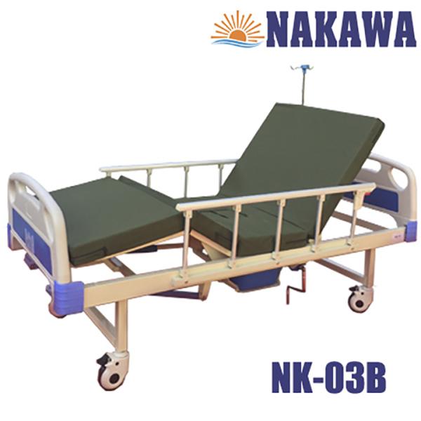 Giường bệnh nhân 3 tay quay có bô NAKAWA NK-03B,[Giá:8.900.000], giường y tế 3 tay quay có bô, giuong benh nha, giuong y te, giuong benh vien da nang, dung cu cham soc nguoi dau benh